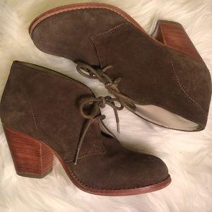 BODEN- stacked heel suede booties